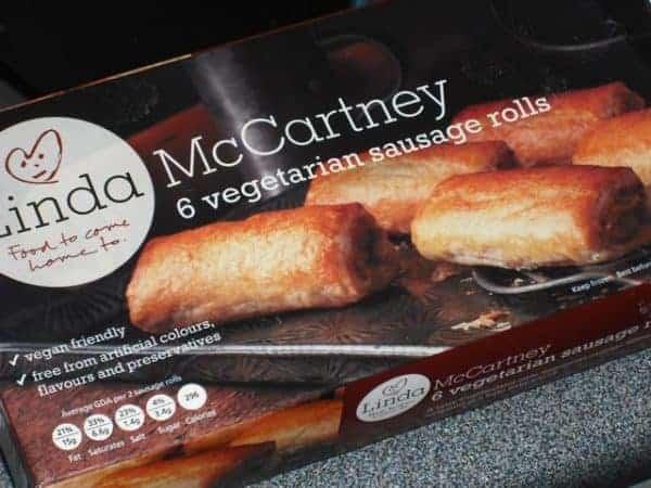Linda McCartney vegetarian sausage rolls box