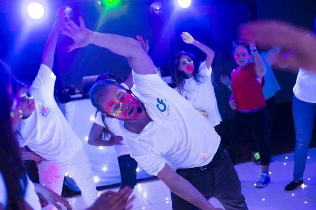 Entertainer teaching a dance