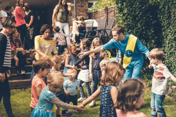 Superhero suitcase childrens party