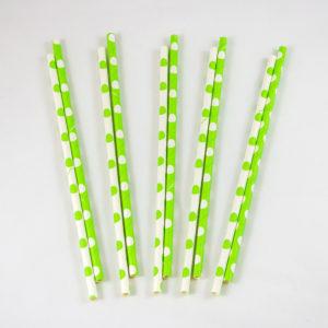 Green and White Polka Dot Straws (10 Pack)