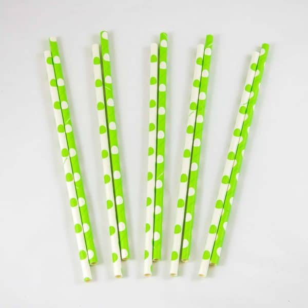 Green and White Polka Dot Straws (10 Pack)