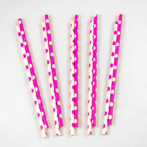 Pink and White Polka Dot Straws (10 Pack)