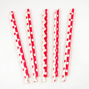 Red and White Polka Dot Straws (10 Pack)