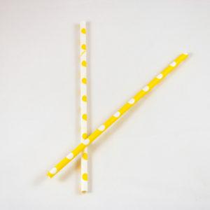 Yellow and White Polka Dot Straws (10 Pack)