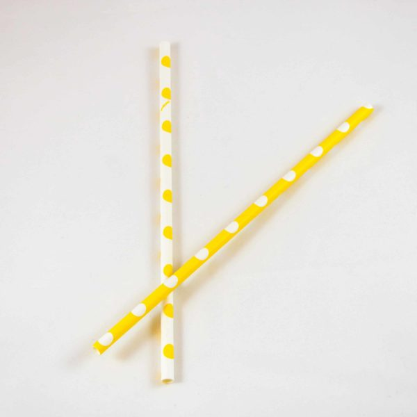 Yellow and White Polka Dot Straws (10 Pack)