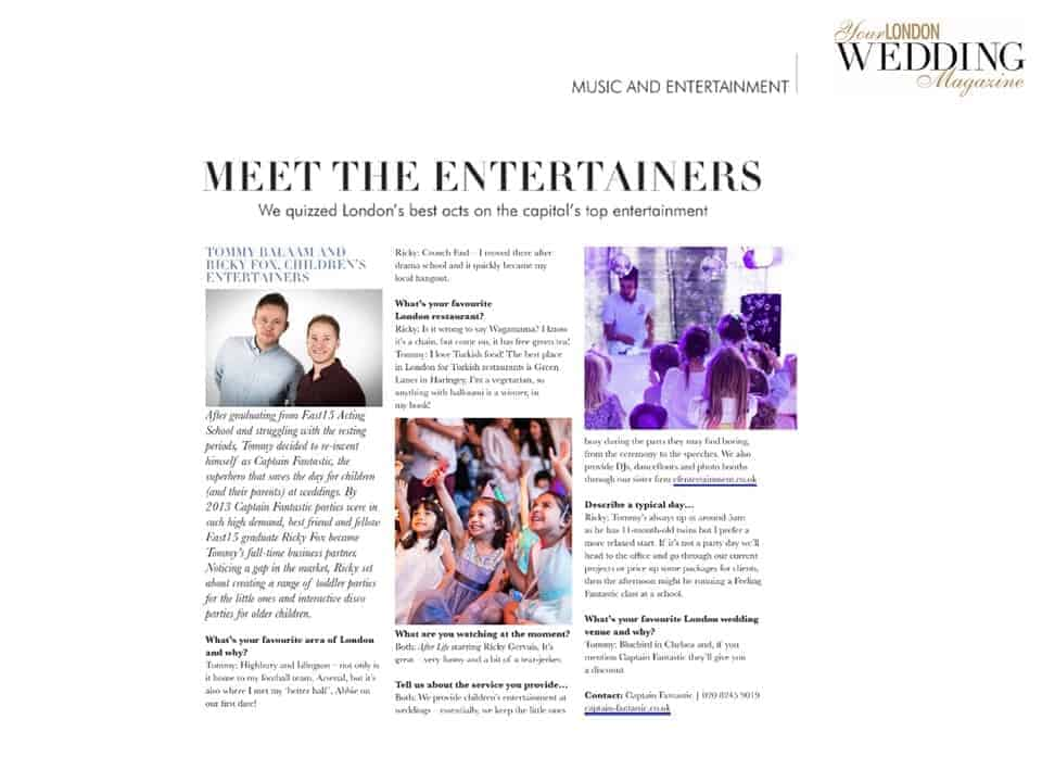 Your London Wedding Magazine - Captain Fantastic Press Coverage